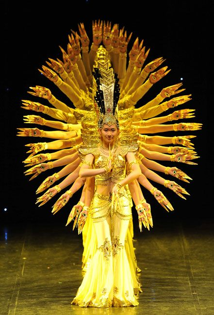 'Thousand-hand Bodhisattva' performed by artist from the China Disabled People's Perforoming Art Troupe in Brussels. via dailymail.co.uk #Dance #Thousand_Hand_Bodhisattva #Brussels