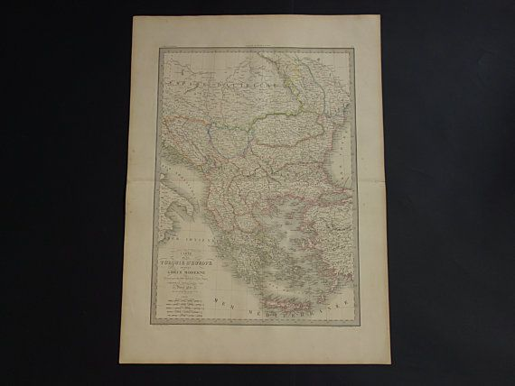 BALKANS antique map of Greece and Turkey 1842 by VintageOldMaps