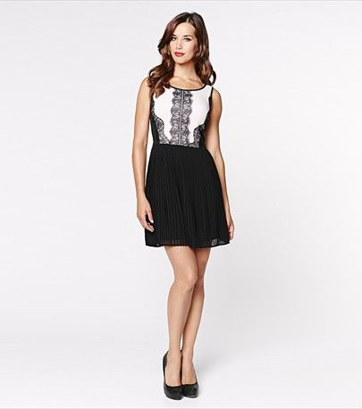 #DYNHOLIDAY Amp up your party dressing with this gorgeous pleated chiffon dress featuring a delicate lace appliqué and a super flattering fit that'll steal glances wherever you go.