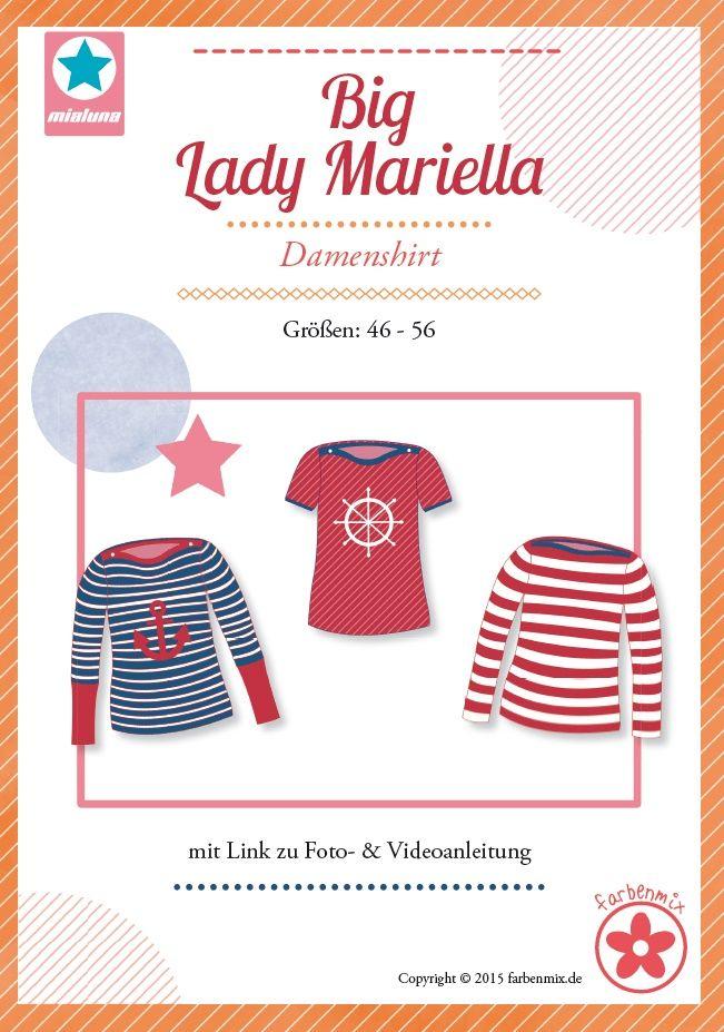 Mehrgrößenschnittmuster, Größen: 46, 48, 50, 52, 54, 56  Alle Größen sind auf dem Schnittmusterbogen abgebildet.Big Lady Mariella  ist ein einfach zu nähendes  Basic Shirt mit U-Boot Ausschnitt . Es sitzt tailliert und figurnah. Der...