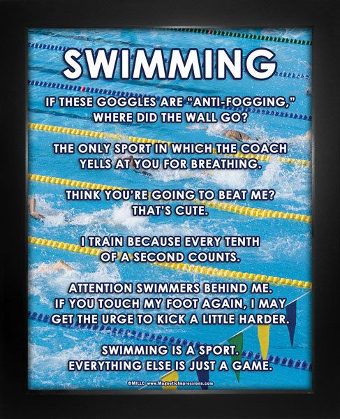 "Swimming Meet Poster Print features a photo of swimmers in action. ""If these…"