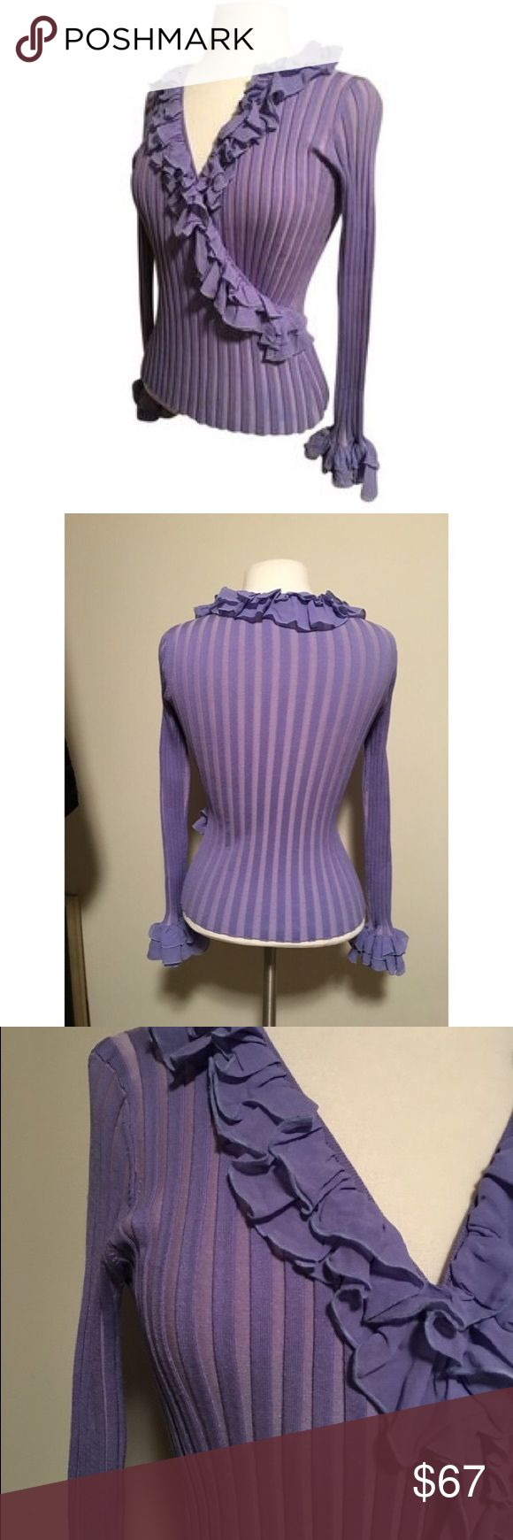 Belldini Purple Silk/ Spandex Double Ruffle ribbed Beautiful, fun ribbed, wrap double ruffled front and cuffs, fitted - great with skirt, pants or jeans! Comfortable, extremely flattering fit, sexy 75% silk 19% nylon 8% spandex - hand wash cold Belldini Sweaters V-Necks