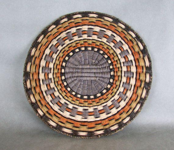 Old Hopi Wicker Basket Tray Weaving Earth Tones & by OldWestGems, $215.00