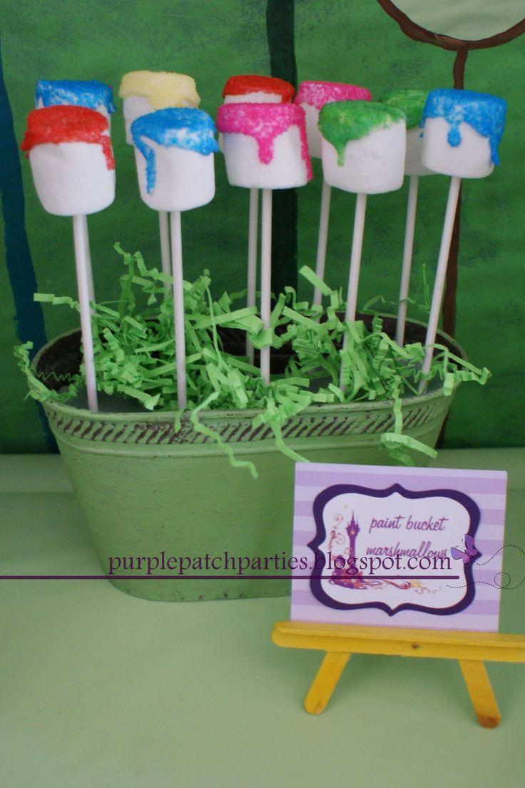 Rapunzel Disney's Tangled Inspired  Birthday - Paint Bucket Marshmallows
