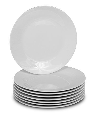 8 White Round Dinner Plates - 10.5-Inch Classic Solid Coupe Style Porcelain Dinnerware. For product & price info go to:  https://all4hiking.com/products/8-white-round-dinner-plates-10-5-inch-classic-solid-coupe-style-porcelain-dinnerware/