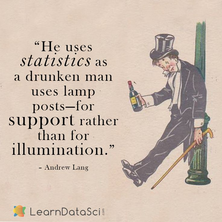 """""""He Uses Statistics As A Drunken Man Uses Lamp Posts"""