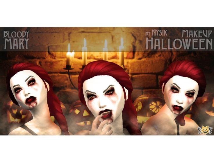 Sims4   Nys!k\'s Halloween MakeUp Set (Bloody Mary, Evil GrandMa ...