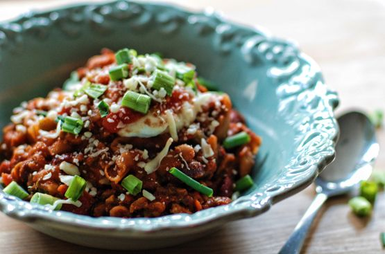 Bowl of Slow-Cooked Turkey Chili