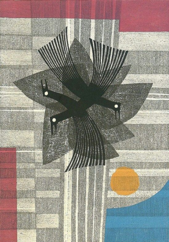 Title unknown by Japanese artist and printmaker Fujita Fumio (b.1933). Color wood block print. via an electric eccentric