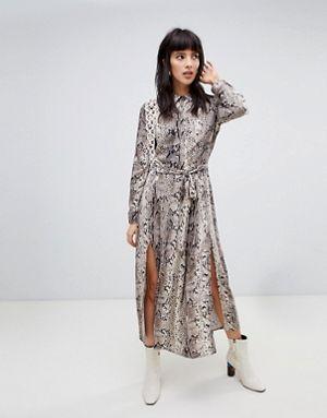 807821e4892 Stradivarius snake print midi dress with slits