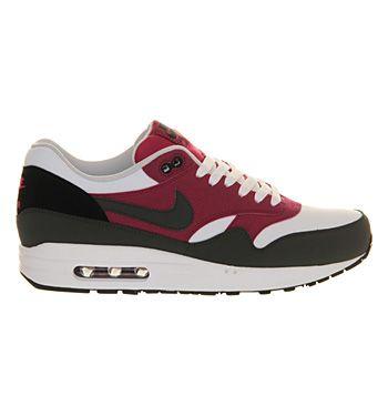 Nike Air Max 1 White Dark Burgundy Grey - His trainers