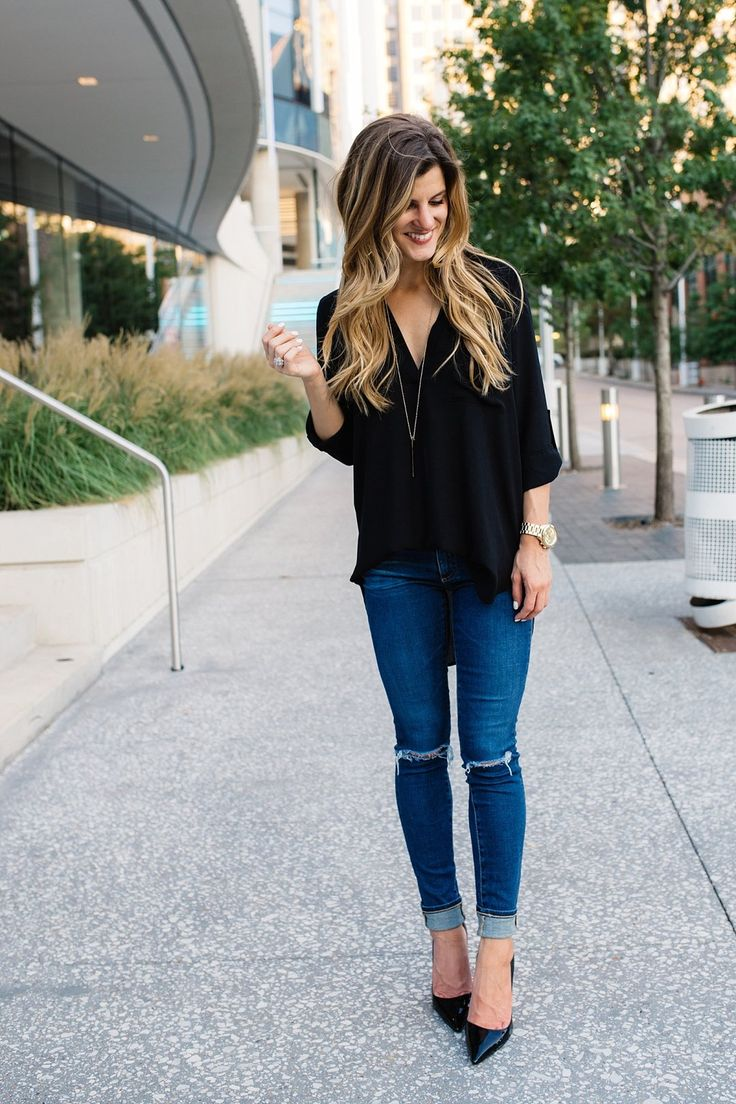 What to wear for date night // date night outfit // dinner outfit // dressing up denim // jeans with pumps