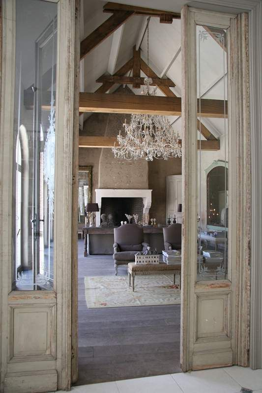 Beamed french country living room french country home for Living room designs with french doors