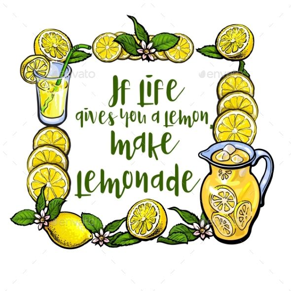 If Life Gives You Lemon, Make Lemonade Lettering by Sabelskaya If life gives you lemon, make lemonade lettering in square frame, sketch vector illustration on white background. Hand drawn lemon
