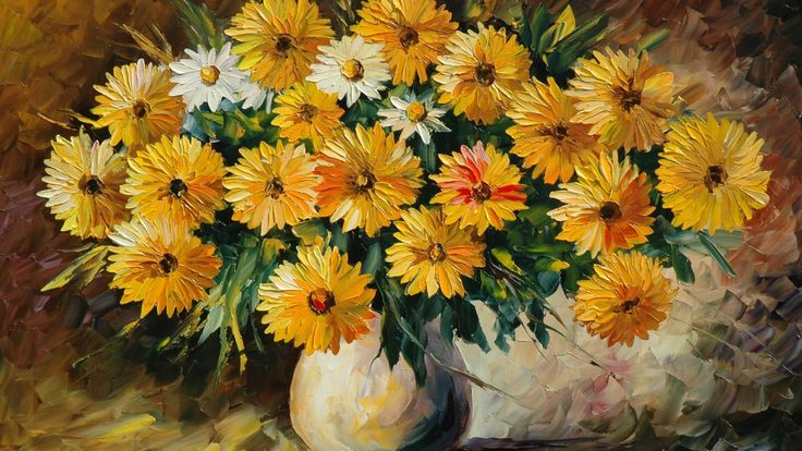 Painting Flowers Vase Bouquet HD Pictures