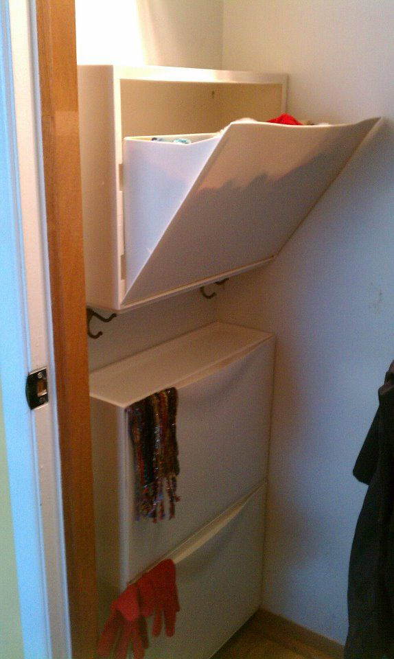Ikea's Trones shoe racks....fit perfectly in my hall closet and now holds hats, gloves, and scarves!
