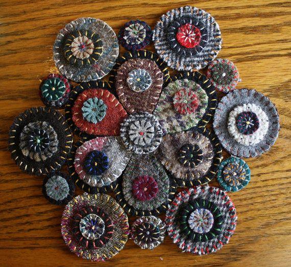 Handmade Felted Wool Penny Rug, Wall Hanging, or Tea Cozy
