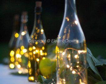 Vin bouteille lumières, lumières de bouteille, décor de Table, décoration Table de mariage, guirlande lumineuse de vin pour les bouteilles de vin, piles incluses en liège!