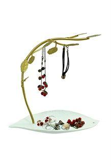 Árvore joias Twig<BR>16,5 cm - Branco e dourado