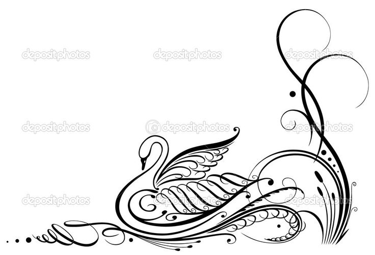 书法、 复古、 天鹅 — 图库插图 #31454729