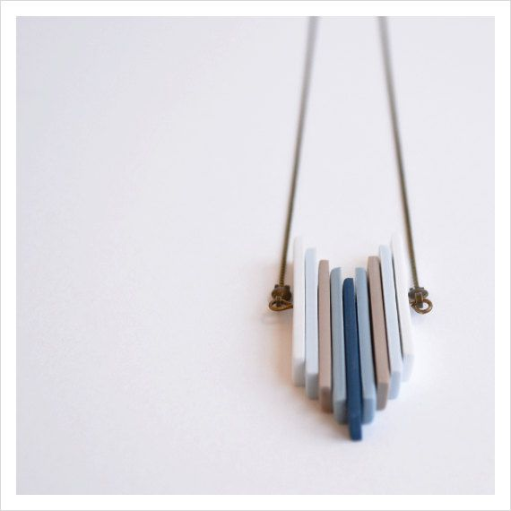 Unisex contemporary necklace with multi color polymer clay strips: blue on Etsy, $29.00