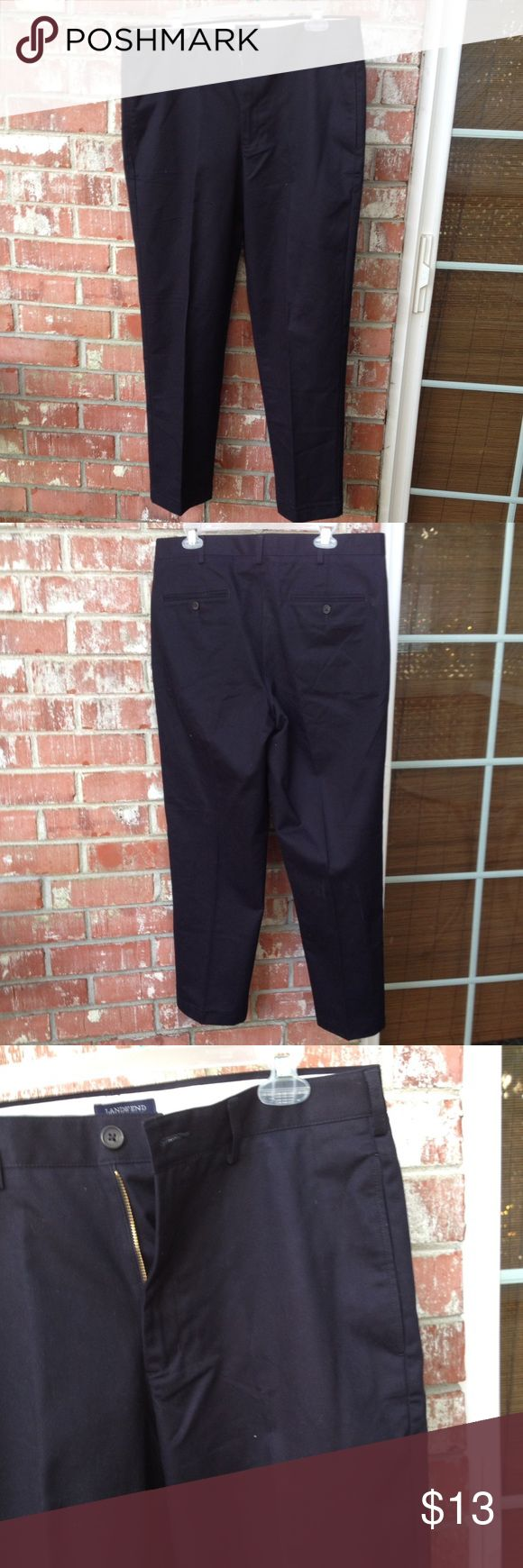 Lands' End Black Khaki Pants Men's 34x29.5 inseam. Traditional fit. Worn once for a couple hours. Will be gently wash and line dried. NEW Lands' End Pants Chinos & Khakis