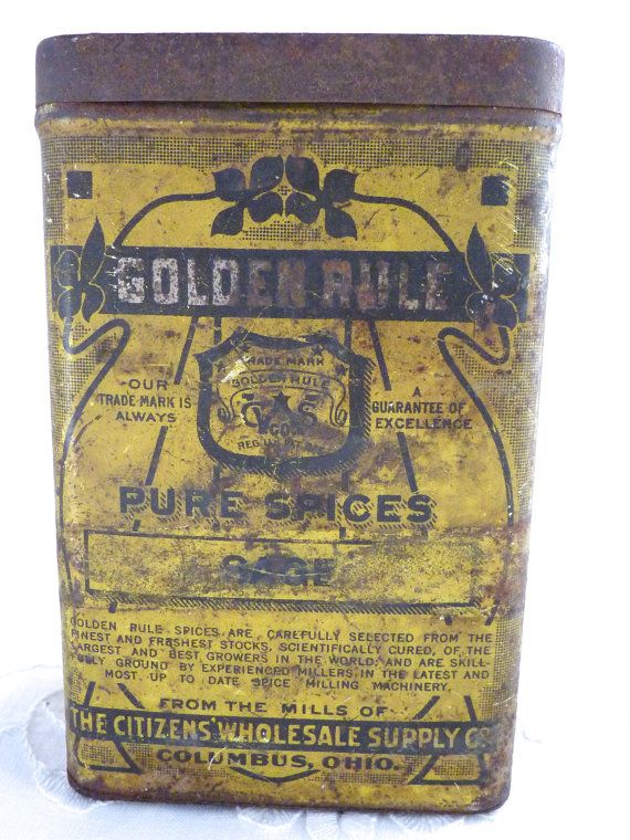 Golden Rule Spice Tin  Sage Citizens Supply by BonniesVintageAttic, $35.00