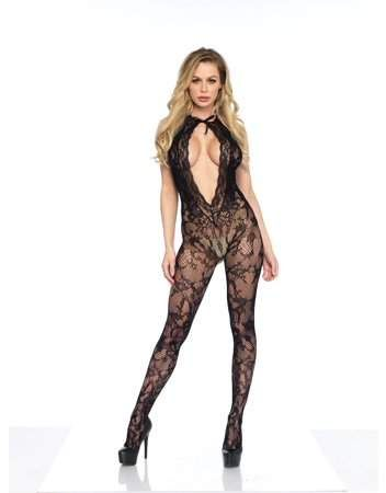 9c08509faa7 Women s Lace Keyhole Bodystocking with Cheeky Cut Out Bottom