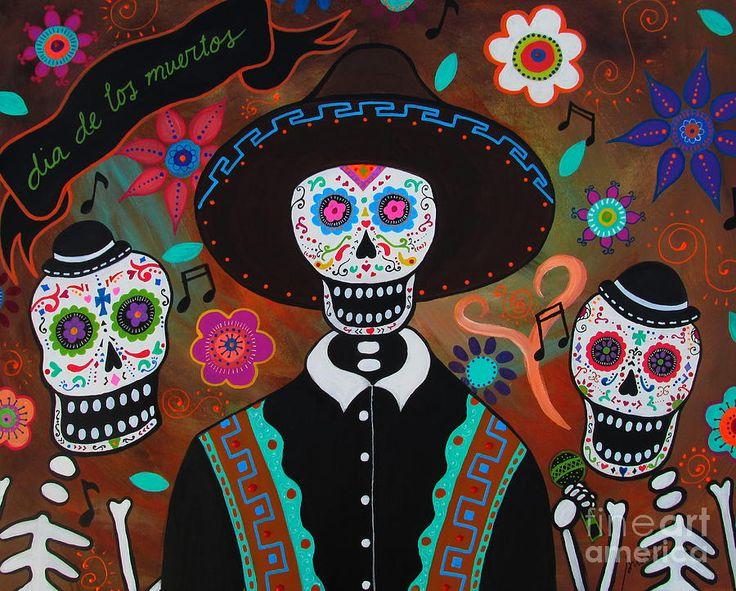 Tres Cantantes Muertos Painting by Pristine Cartera Turkus
