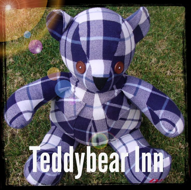Memory Bear made from the favourite flannelette shirt of a very loved and missed father.