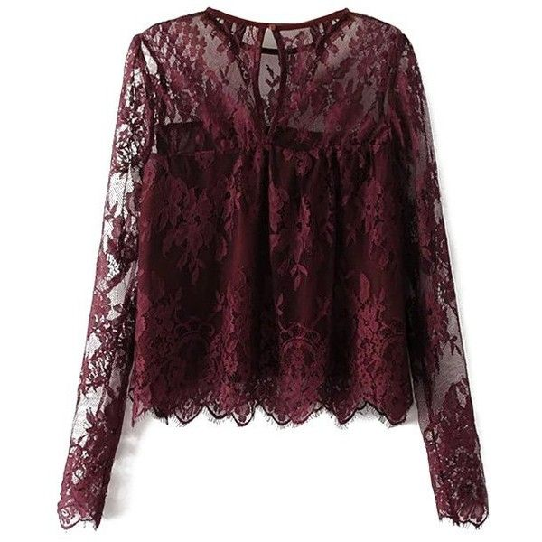 Sheer Floral Lace Smock Top ($22) ❤ liked on Polyvore featuring tops, transparent top, purple floral top, purple top, floral tops and smocked top