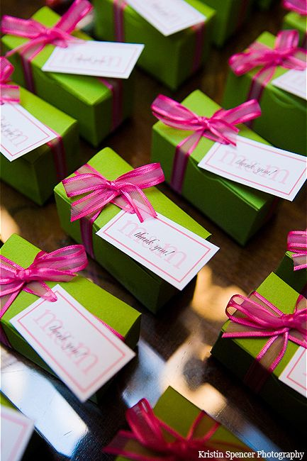 Lime green & hot pink wedding favor boxes.