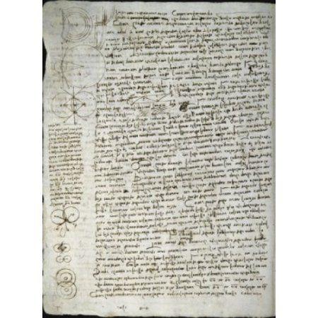 Codex Leicester Science of Waves Leonardo da Vinci (1452-1519Italian) Drawing Armand Hammer Foundation Los Angeles Canvas Art - Leonardo da Vinci (18 x 24)
