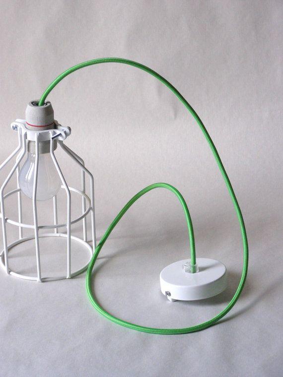 Industrial Lighting wire Cage Green cloth cord door TassoStudio #greece