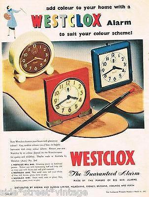 WESTCLOX AD CLOCKS AUSTRALIAN MID CENTURY Vintage Advertising 1951 Original  Ad in Print Advertising | eBay