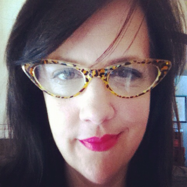 Retro reading glasses purchased from Goodwill!