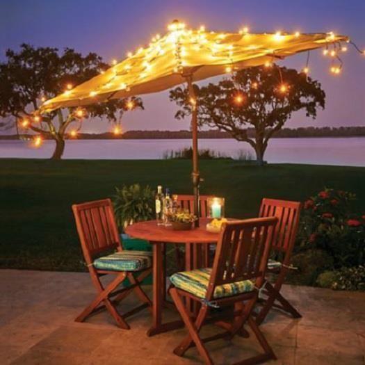 Starry Night Outdoor Umbrella Lights Patio Garden Pool Decor Outdoor  Lighting #HomeImprovements