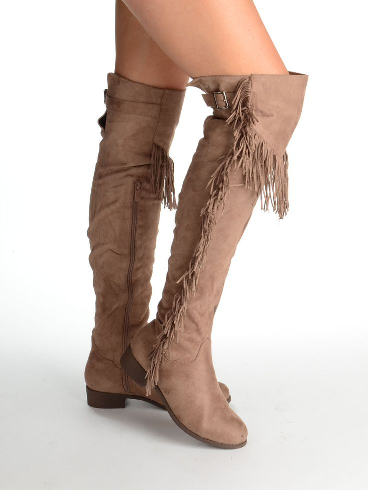 JENI Over The Knee Flat Suede Fringed Boot with Buckle Detail