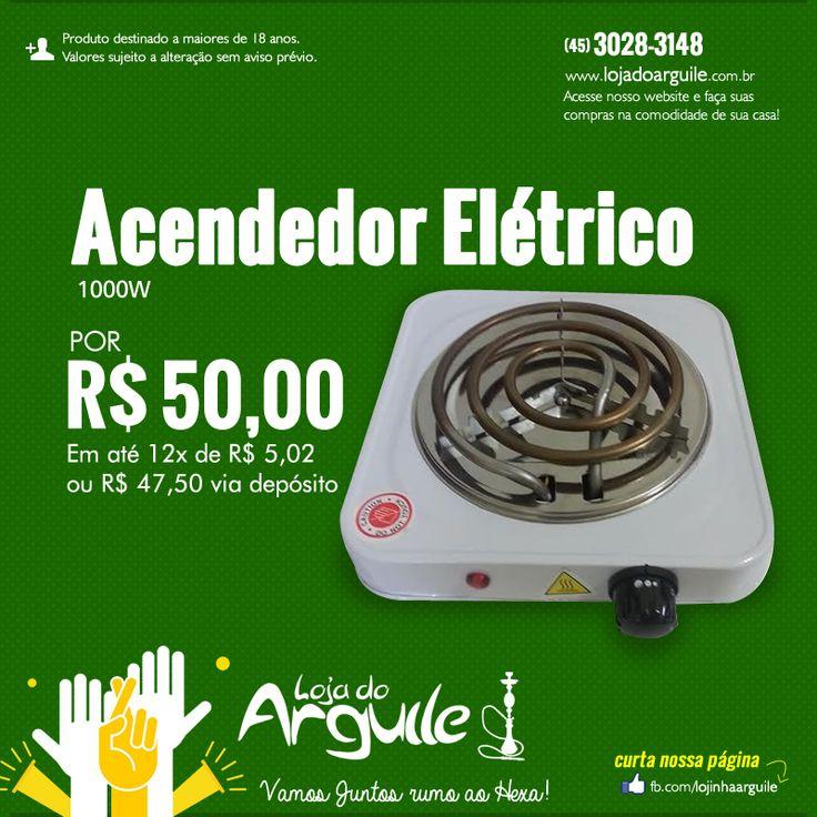Acendedor Elétrico 1000w DE R$ 65,00 / POR R$ 50,00 até 12x de R$ 5,02 ou R$ 47,50 via depósito  Compre Online: http://www.lojadoarguile.com.br/acendedor-eletrico-1000w
