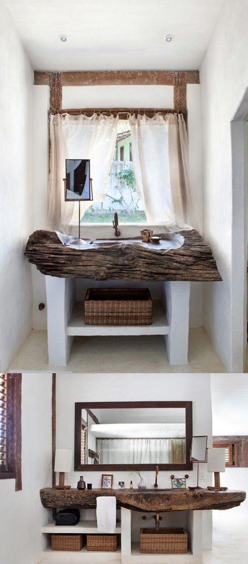 top lavabo tronco legno