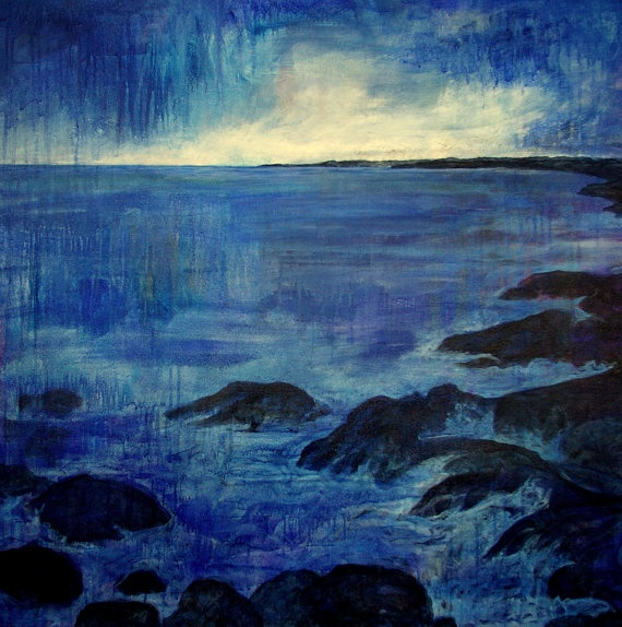 """Original painting by Canadian artist, Janet Moore.  Acrylic on 1 1/2"""" wrapped canvas that is painted around the edges.  Size: 36""""x36""""  I live in Nova Scotia, close to the ocean where the rugged coastal beauty captures me. This painting is of a beach where I often go to for an evening stroll. The misty rain at dusk on this particular evening created a mystical feeling with the water so strangely calm, yet I knew a serious storm was brewing somewhere out there, over the great Atlantic ocean."""