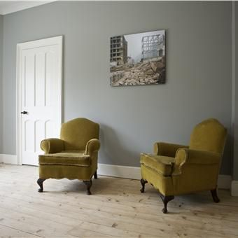 Lounge with Lamp Room Gray and Wimborne White. Farrow and Ball