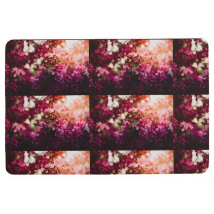 Women's trendy pink and white flower floor mat - flowers floral flower design unique style