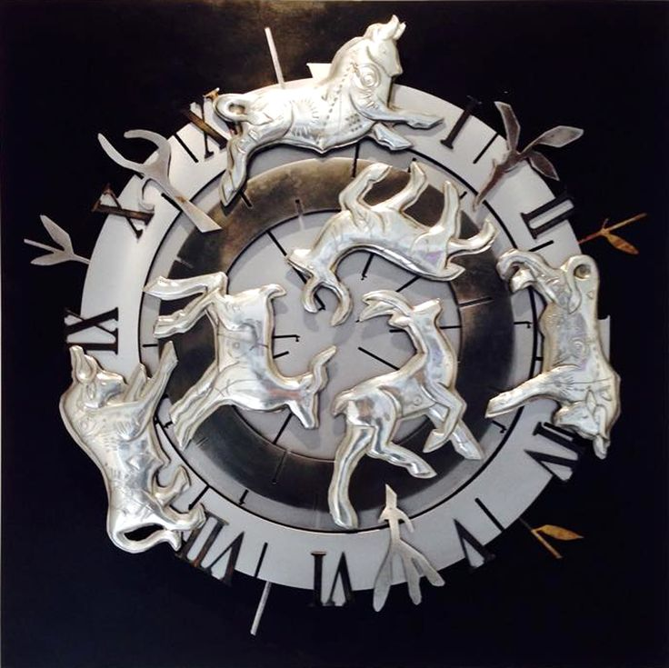 Circle of Cycles 690 x 690mm Pewter, Mild Steel, Etching on wood Artist Martie Bitzer