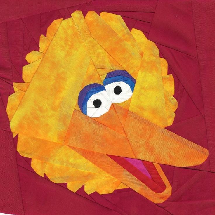 Free paper pieced Big Bird pattern by Michelle Thompson. http://fandominstitches.com: Bird Patterns, Paper Piece, Big Bird, Pieces Patterns, Birds Patterns