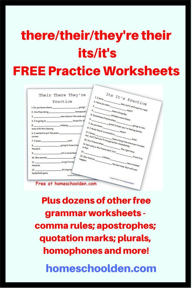 Free Grammar Worksheets -- their there they're – its it's Practice ...