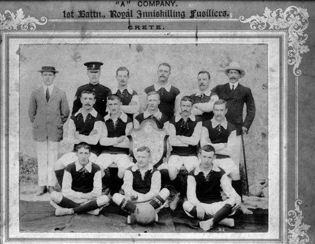 A Co. 1/Inniskilling's football team, Crete 1907.