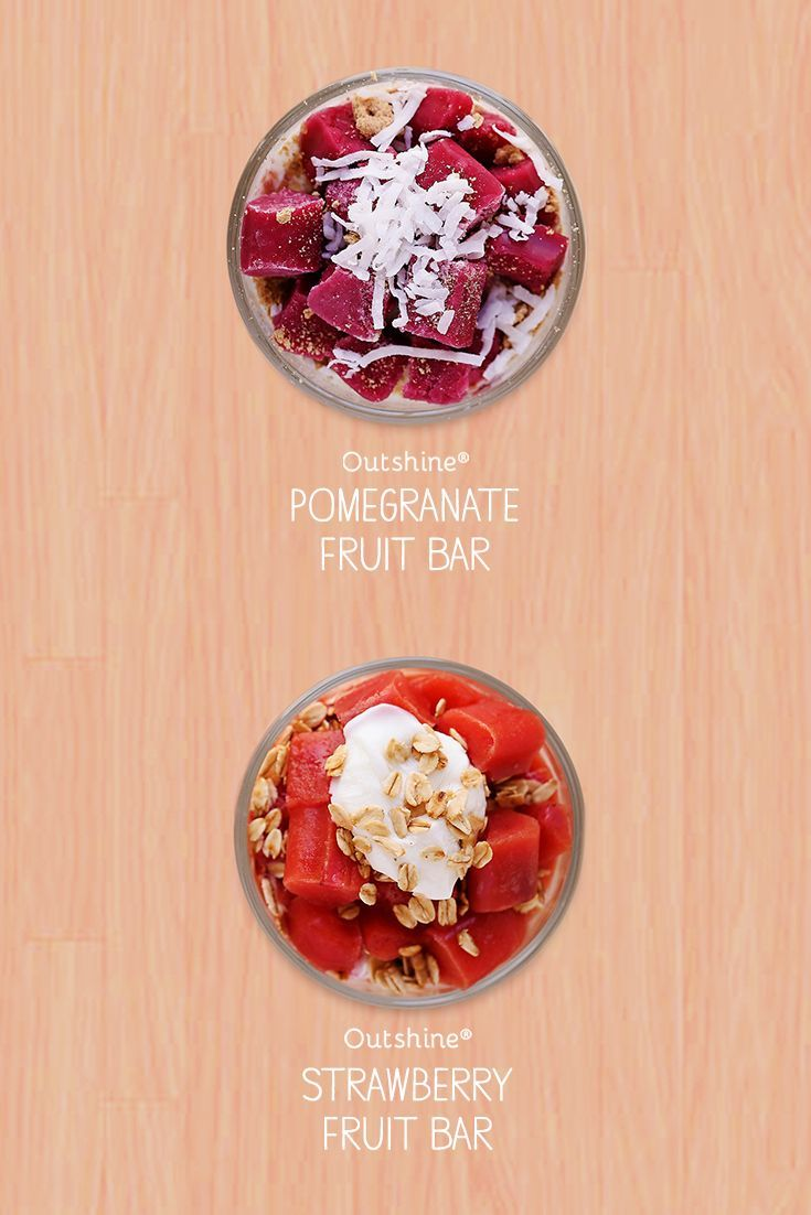 Craving a quick, satisfyingly good snack? Cut up your favorite Outshine bar and add to bowl of greek yogurt, then add toppings like granola, dried fruit and coconut shavings to make a tasty yogurt parfait. Yum!