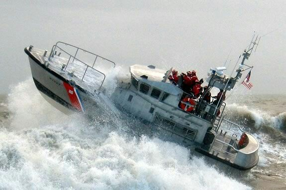 Coast Guard on rough seas