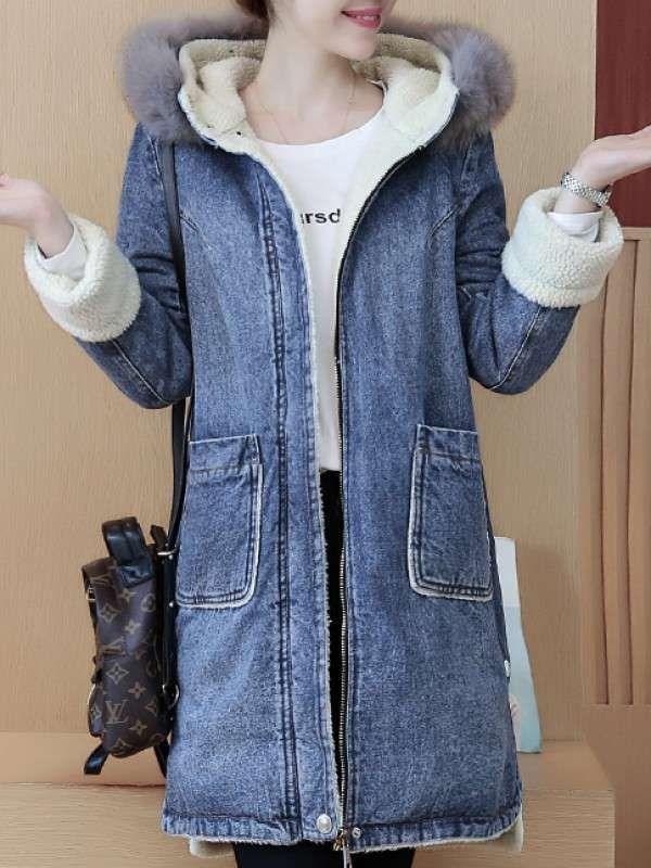 上質デニムコート裏起毛ファーフード付きポケット付きゆったりロング秋冬アウター - レディースファッション激安通販|20代·30代·40代ファッション